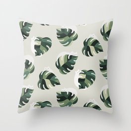 Cat and Plant Pattern 3 Throw Pillow