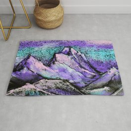 Abstract landscape with mountains and hills by pastel Rug