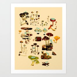 Cats and Spaceshrooms Art Print