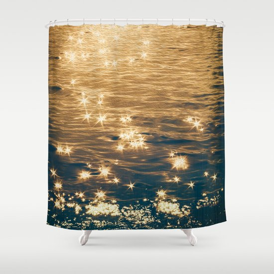 Sparkling Ocean In Gold And Navy Blue Shower Curtain By Graphic Tabby Society6