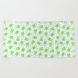 Kawaii Happy Frogs on Blue Beach Towel