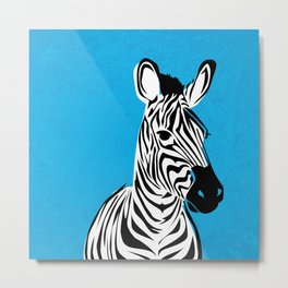 Cyan Zebra Metal Print