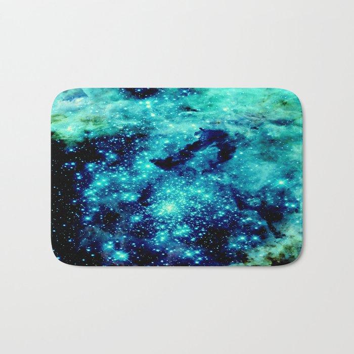 GALAXY. Teal Aqua Stars Bath Mat