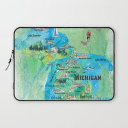 Michigan USA State Illustrated Travel Poster Favorite Tourist Map Laptop Sleeve