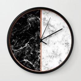 Marble black and white circle Wall Clock