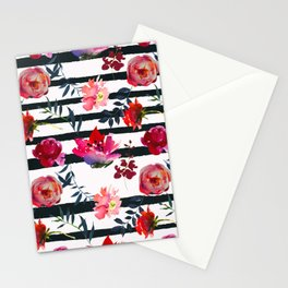 Scattered Magenta and Pink Blossom on White with Black Stripes   Stationery Cards