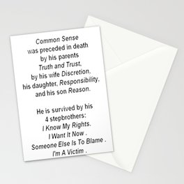The Death of Common Sense Stationery Cards