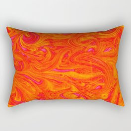 Orange on Fire with Swirls of Pink and Yellow Rectangular Pillow