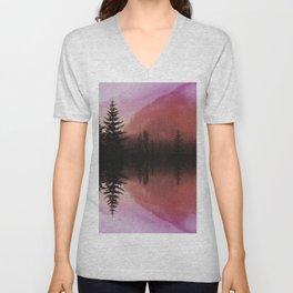 Sunset forest reflections Unisex V-Neck