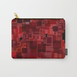 Red and Black Square Patchwork Overlay Carry-All Pouch