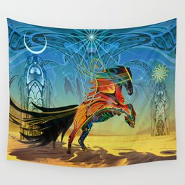 The Wind of Time (Red Horse) Wall Tapestry