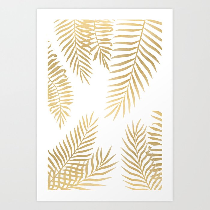 Gold Palm Leaves Art Print By Martaolgaklara Society6