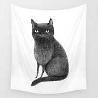 furry Wall Tapestries featuring Black Cat by Sophie Corrigan