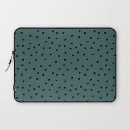 Mudcloth Polka Dots in Evergreen + Black Laptop Sleeve