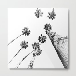 {2 of 2} Palm Trees = Happy // Black and White Summer Sky Metal Print