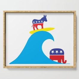 Democratic Donkey Riding Midterm Eection Blue Wave Serving Tray