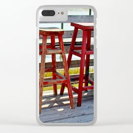 Weathered Bar Stools Clear iPhone Case