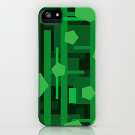 Green Rectangles with Pentagons iPhone Case