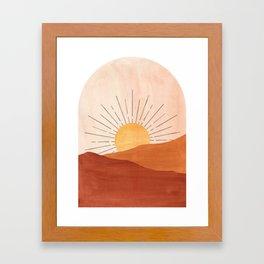 Abstract terracotta landscape, sun and desert Framed Art Print