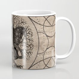 Tree of life - with ravens wooden texture Coffee Mug