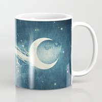 river Mugs featuring Moon River by Paula Belle Flores