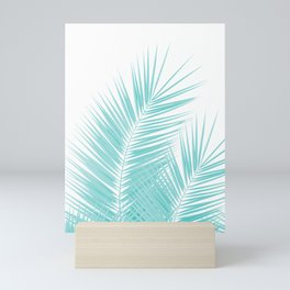 Soft Turquoise Palm Leaves Dream - Cali Summer Vibes #1 #tropical #decor #art #society6 Mini Art Print
