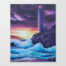 Sunset on a Lighthouse Canvas Print