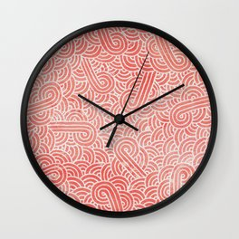 Peach echo and white swirls doodles Wall Clock