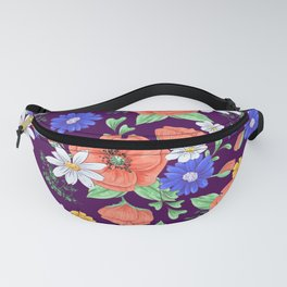 Poppies and daisies hand-drawn floral pattern Fanny Pack