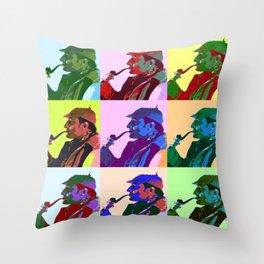 Sherlock Holmes Pop Art Throw Pillow