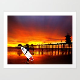 Surfer's Sunset * Huntington Beach, California Art Print
