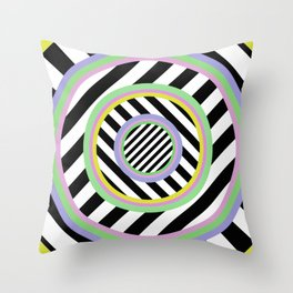Circles, stripes and pastel colours Throw Pillow