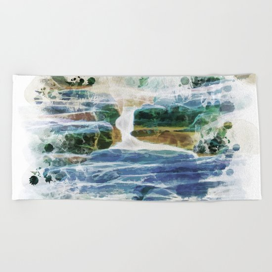 Abstract rock pool in the rough rocks Beach Towel