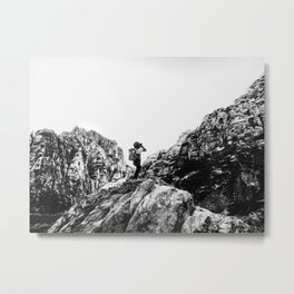 Boys Adventure | Rustic Camping Kid Red Rocks Climbing Explorer Black and White Nursery Photograph Metal Print