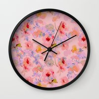 girly Wall Clocks featuring girly floral by clemm