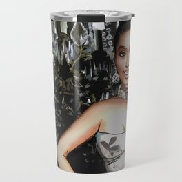 Retro Pinup Girl & Sparkly Chandelier Travel Mug