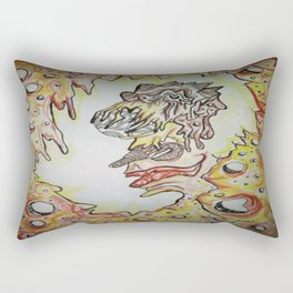 Face in the Cave Watercolor Ink Doodle Rectangular Pillow