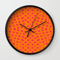 orange pattern Wall Clocks featuring orange Pattern by LoRo  Art & Pictures