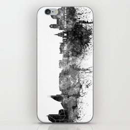 Sofia skyline in black watercolor on white background iPhone Skin