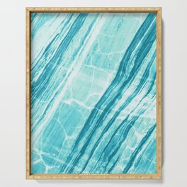 Abstract Marble - Teal Turquoise Serving Tray