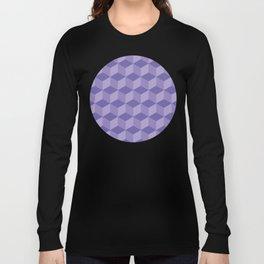 3D Optical Illusion: Purple Cube Pattern Long Sleeve T-shirt