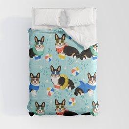 Corgi tri colored corgis pool party dog breed cute custom pet portrait by pet friendly Comforters