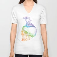 mushroom V-neck T-shirts featuring Mushroom by dogooder