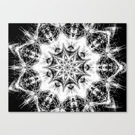 Atomic Black Center Swirl Mandala Canvas Print