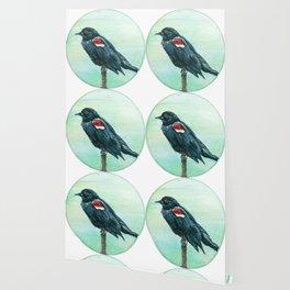 Red-Winged Blackbird Circle Painting Wallpaper