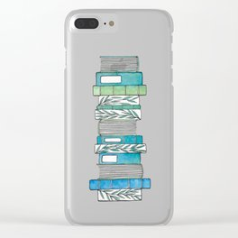 Botanical Books in Aqua Clear iPhone Case
