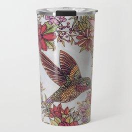 Hummingbird In Flowery Garden Wreath Travel Mug
