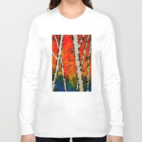 birch Long Sleeve T-shirts featuring Orange Birch  by BeachStudio