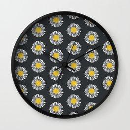 Daisy pattern basic flowers floral blossom botanical print charlotte winter dark color Wall Clock