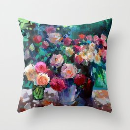 Flowers on The Garden Table Throw Pillow